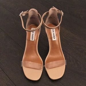 New.  Nude heels with clear strap.